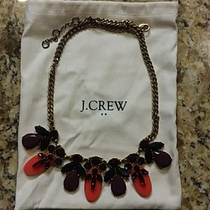 J. CREW Bronze Colored Crystal Necklace, Pouch